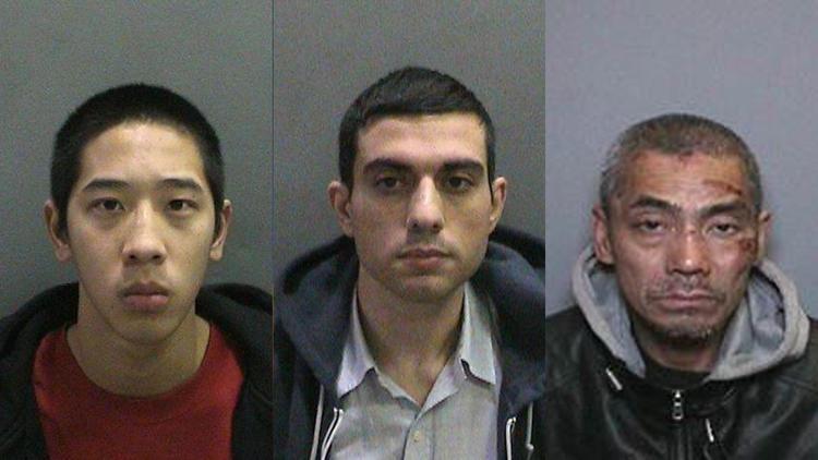 De drie ontsnapte mannen. Van links naar rechts: Jonathan Tieu, Hossein Nayeri en Bac Duong