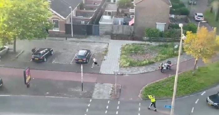 Politie lost schoten bij arrestatie man met vuurwapen Leeuwarden (VIDEO)