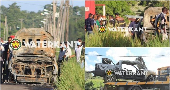 Arrestaties voor verkoolde lijken in uitgebrande pick-up in Suriname